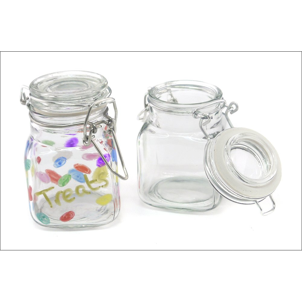 Glass Jar With Clip Lid 8cm Glass And Acrylic Crafts