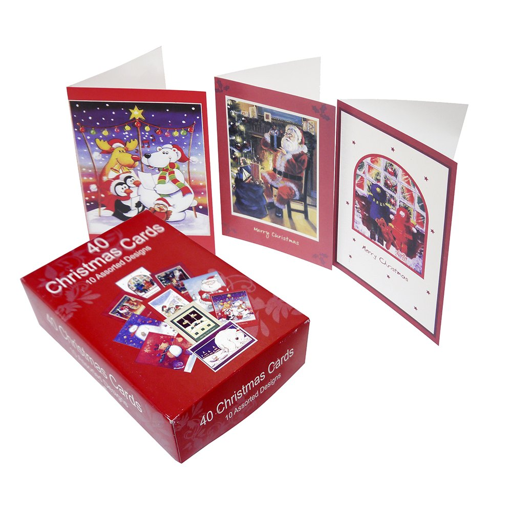 Christmas Card Pack (40 Cards) - Decorative Card Sets from Crafty ...