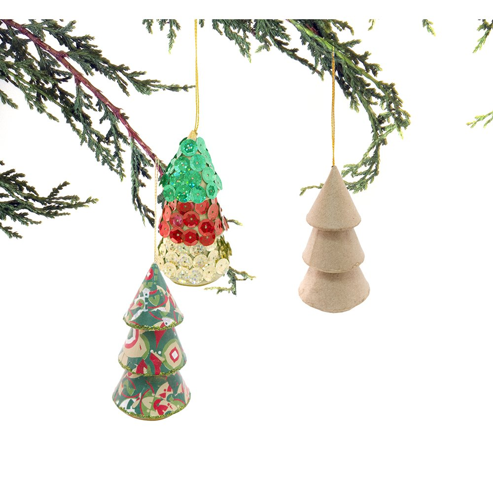Paper mache hanging christmas tree decopatch and paper for Paper mache christmas