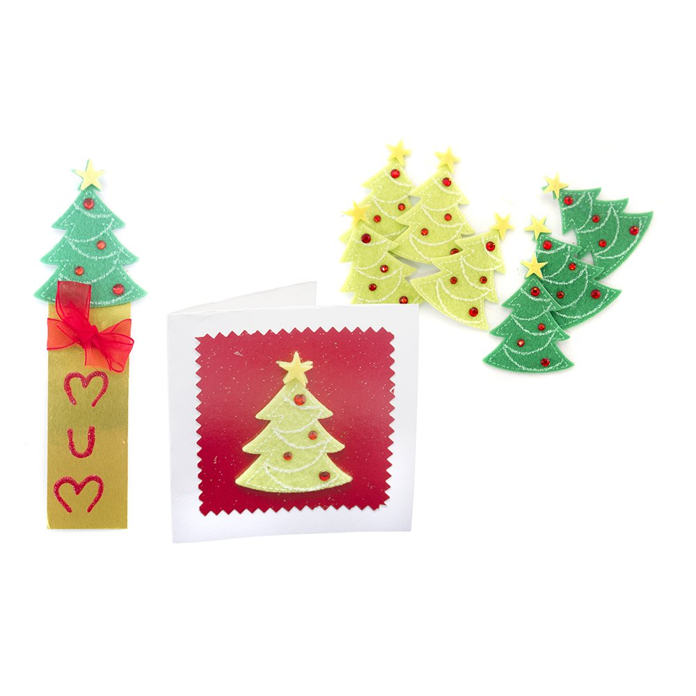 Felt christmas tree stickers pack toppers