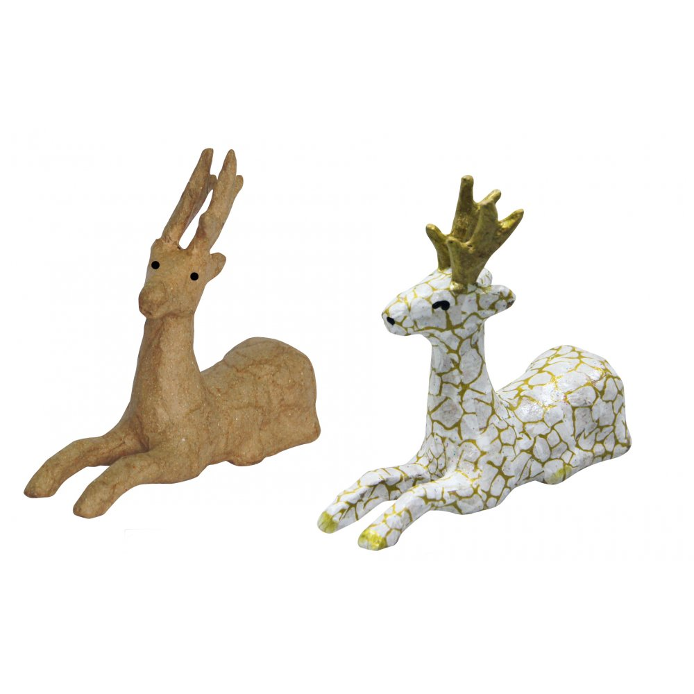 Decopatch paper mache reindeer laying down n0739 for Paper mache christmas