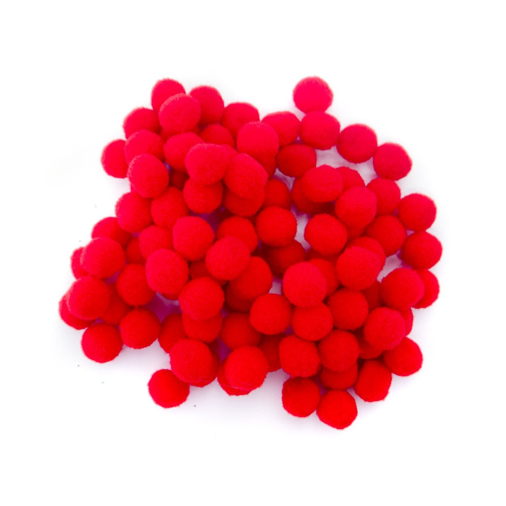 Red Pom Poms 13mm 100 Pack Feathers And