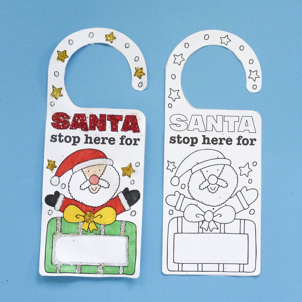 Santa Door Hangers to colour in - 4 Pack  sc 1 st  Crafty Crocodiles & Santa Door Hangers to colour in | Father Christmas Stop Here Sign