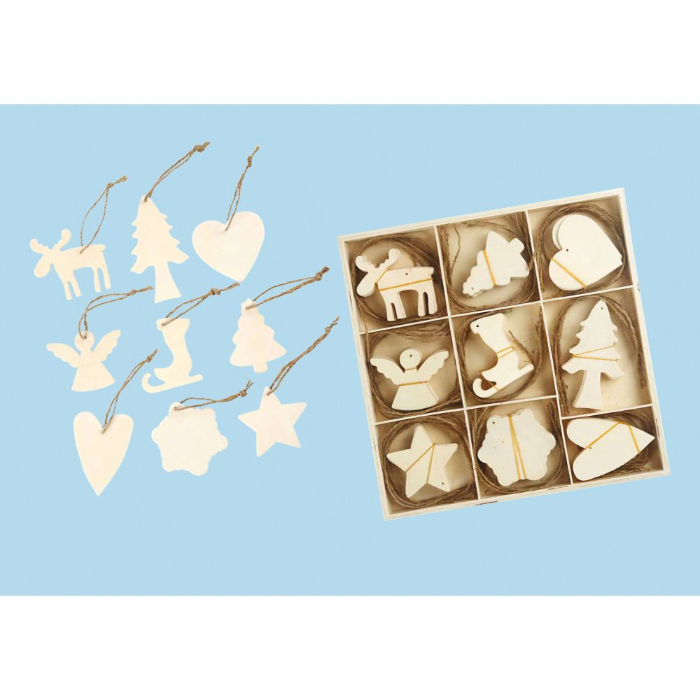 Wooden Christmas Decoration Pack 72 Pack