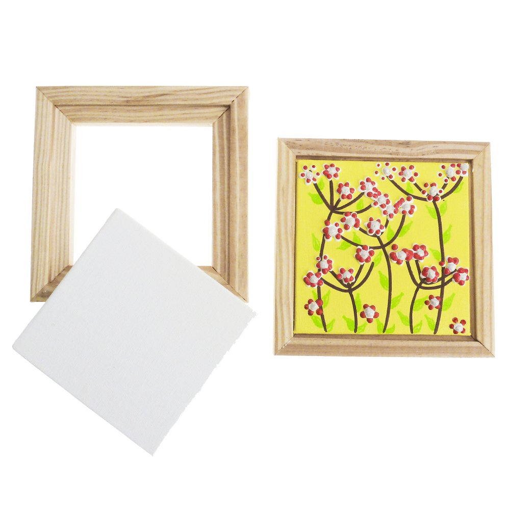 White Framed Canvas Panel - 13 x 13cm - Canvases And Paper For ...