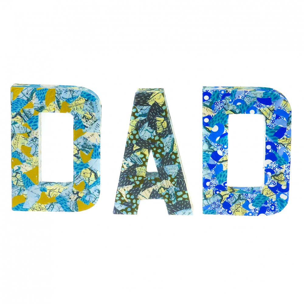 Large paper mache letters dad fathers day from crafty for Mache letters