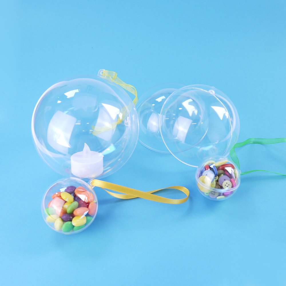 Clear Acrylic Baubles 5 Pack 100mm Suncatchers And