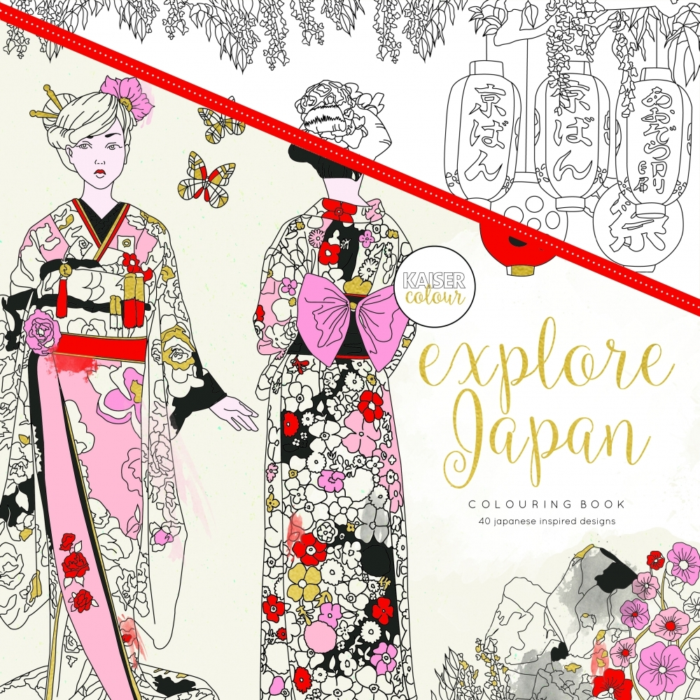 Kaisercolour 39 explore japan 39 adult colouring book Japanese coloring book for adults