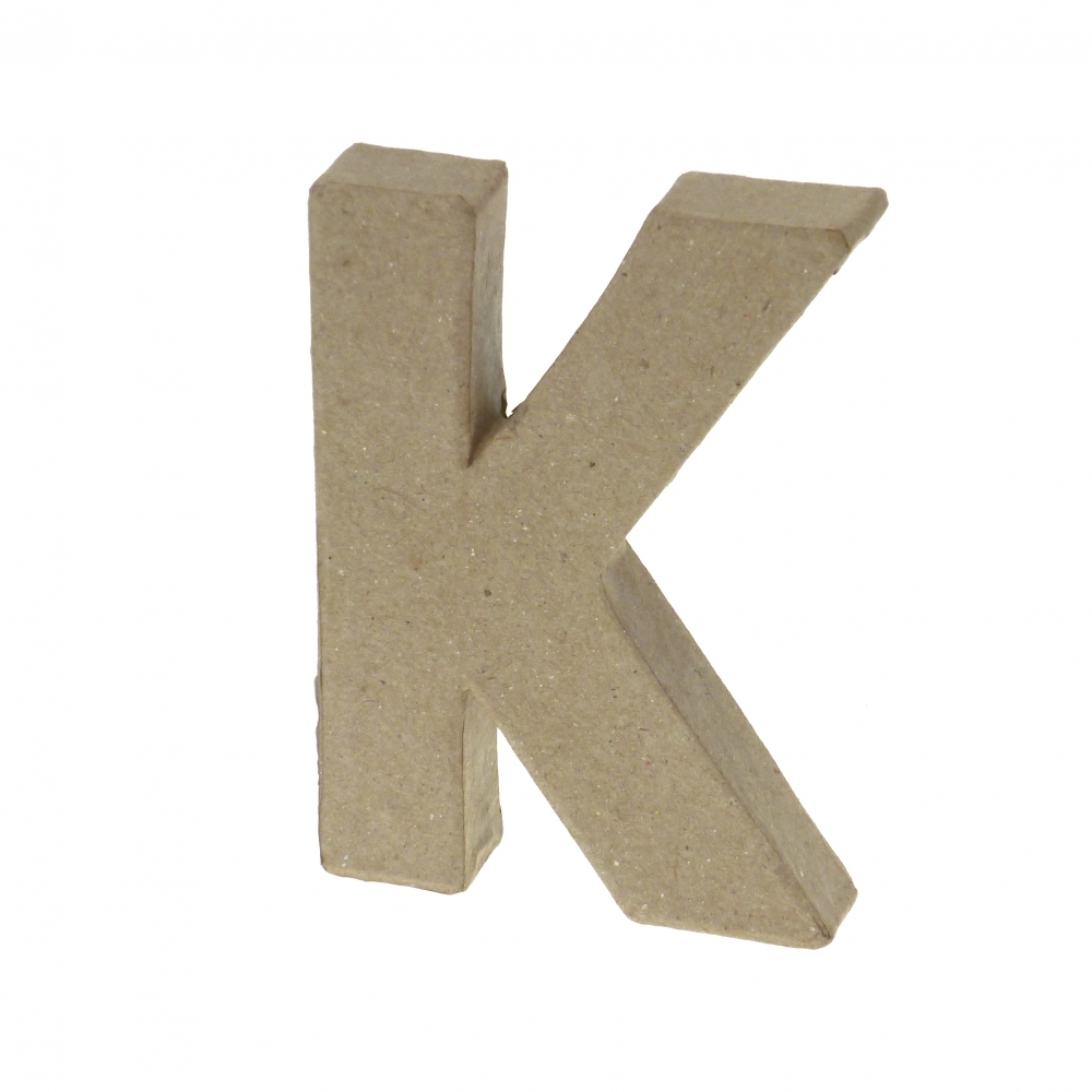 paper mache small letter k 10cm high x 2cm thick With small paper mache letters