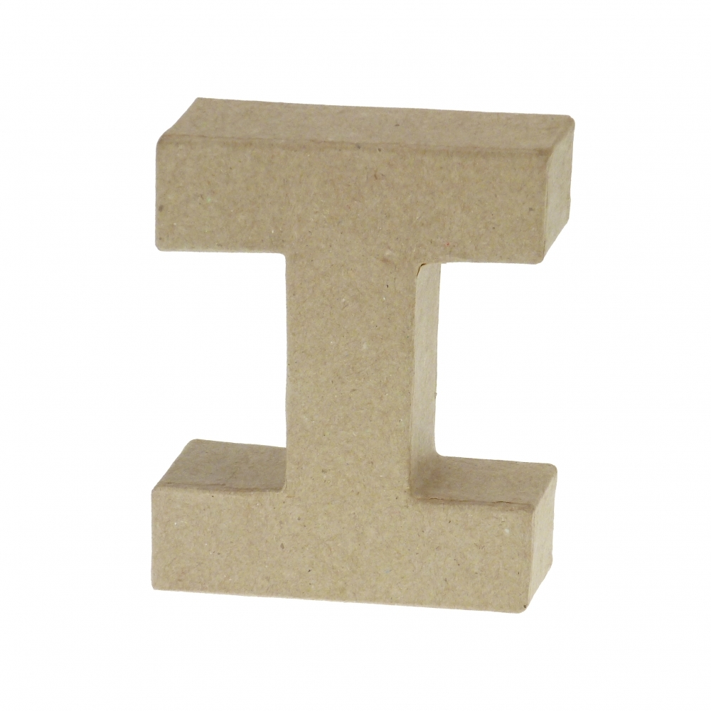 Paper mache small letter i 10cm high x 2cm thick for 24 cardboard letters