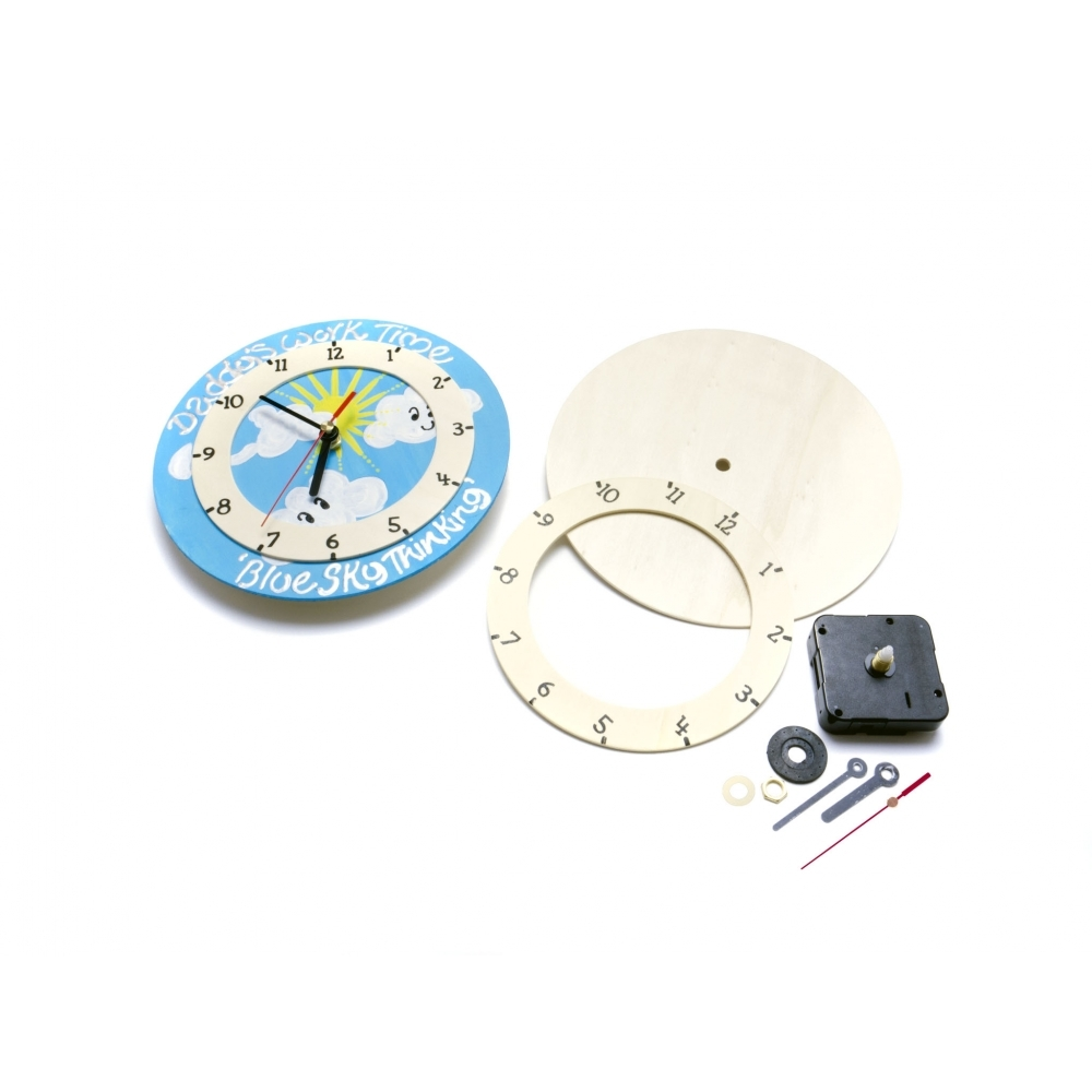 Diy wooden clock fun with wood and wood bases from for Clock mechanisms for craft projects