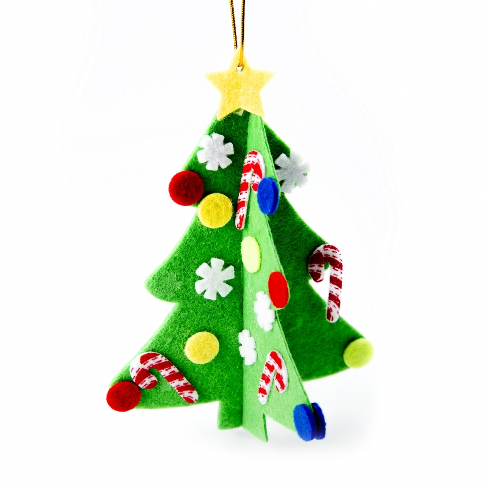 Decorating Ideas > Felt Christmas Tree Hanging Decoration Kit  Makes 12  ~ 074301_Christmas Decoration Craft Kits