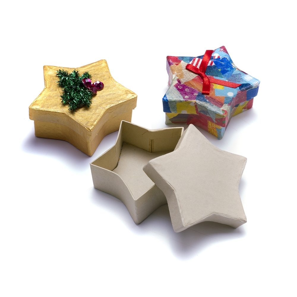 Star shaped craft box decopatch and paper mache from for Craft paper mache boxes