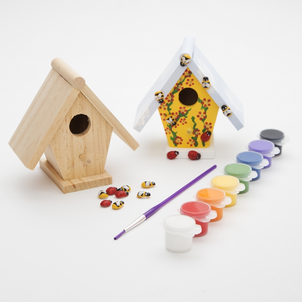 Wooden bird box kit decorate your own bird box craft kit for Craft box for toddlers