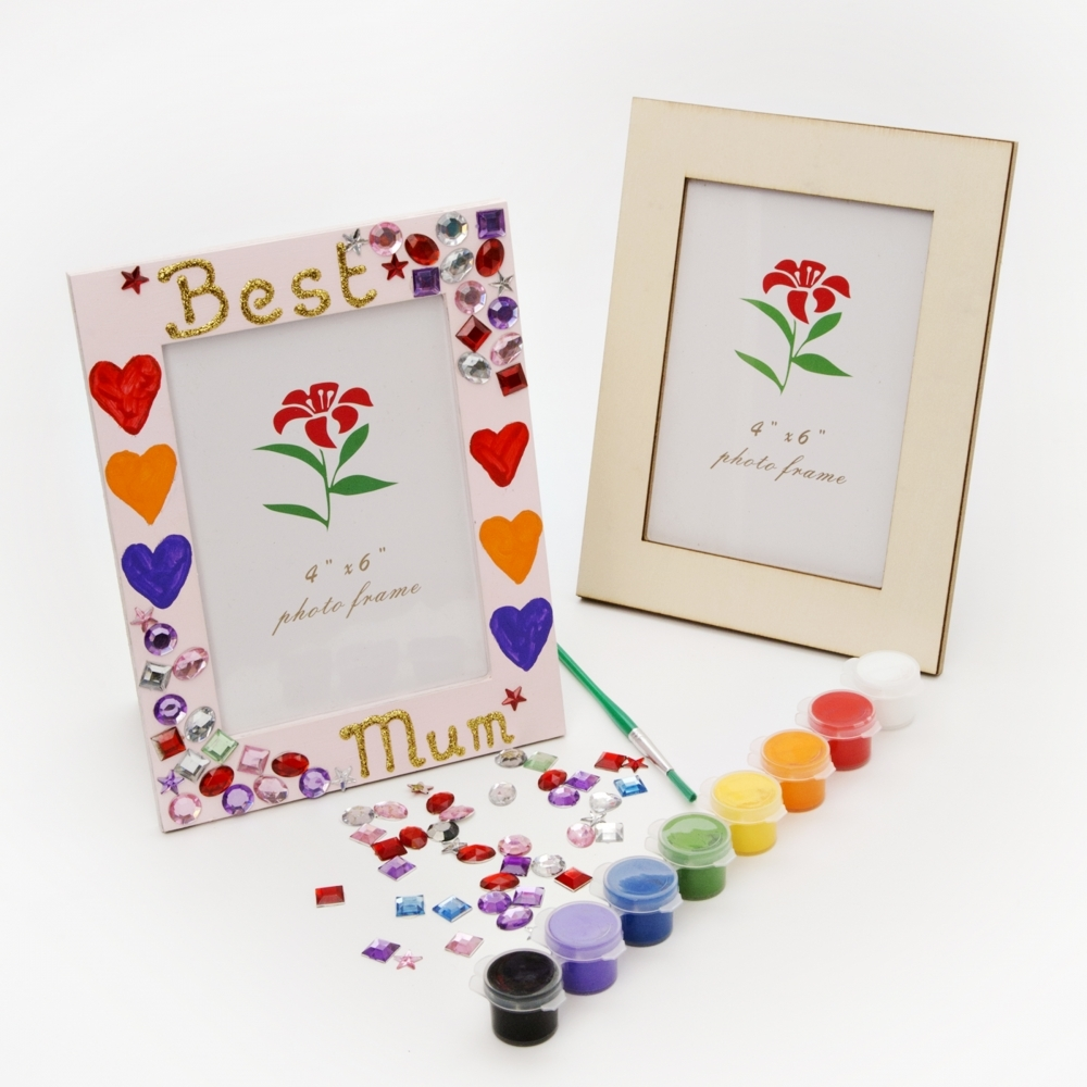 Wooden picture frame kit craft kit photo frame to decorate for Craft kits for preschoolers